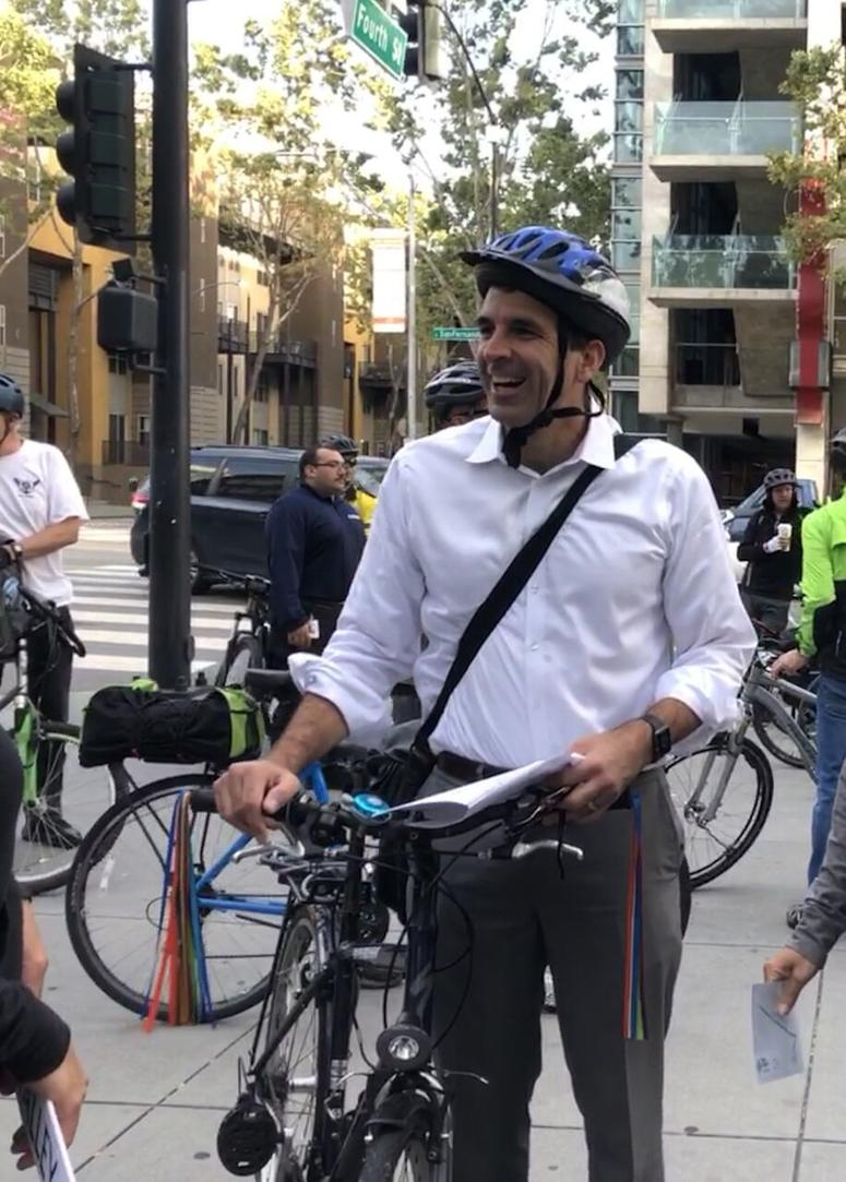 San Jose Mayor Sam Liccardo On A Recent Bike To Work Day