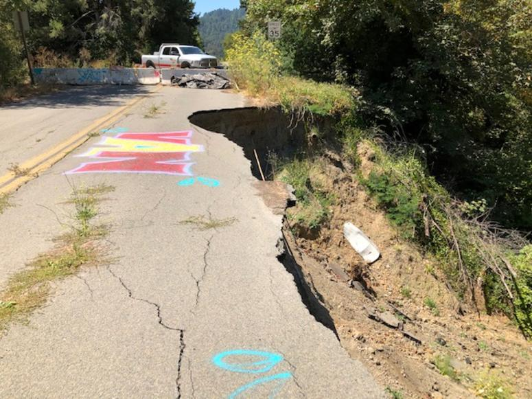Crumbling pavement on Moscow Road in Guerneville