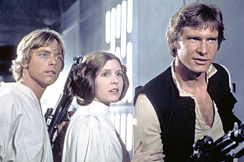"Mark Hamill, Carrie Fisher and Harrison Ford in ""Star Wars: A New Hope"""