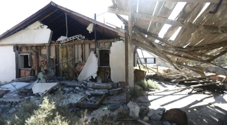 An earthquake-damaged house in Trona, CA following the 7.1M Ridgecrest earthquake on July 5, 2019