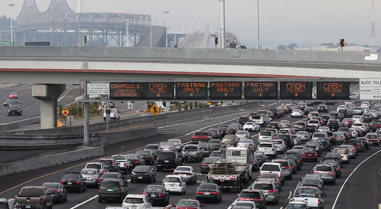 Traffic backs up on Interstate 80 at the San Francisco-Oakland Bay Bridge as the Bay Area Rapid Transit (BART) strike snarls the morning commute on October 21, 2013 in Oakland, California.