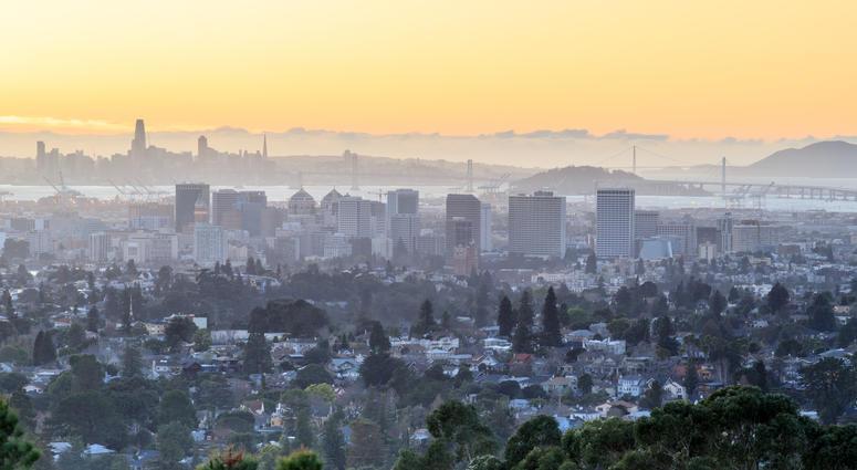 San Francisco and Oakland at sunset.