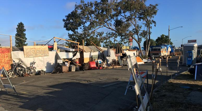 A homeless encampment near a Home Depot in Oakland on July 23, 2019.