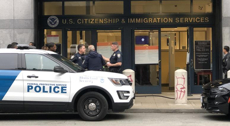 A scene from outside the U.S. Citizenship and Immigration Services office in San Francisco in July 2019.