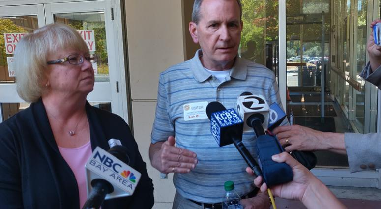 Kathy and Chris Cutshall speak to reporters on July 15, 2019 in Santa Rosa before the sentencing of Shaun Michael Gallon who murdered their daughter Lindsay Cutshall in 2004.