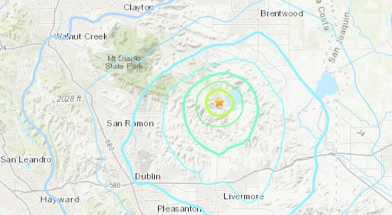 The USGS recorded a 4.3-magnitude earthquake centered near Blackhawk in the East Bay on July 16, 2019.