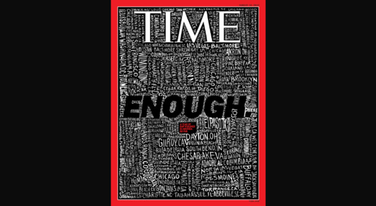 John Mavroudis, an East Bay resident, drew the cover of the TIME magazine issue devoted to mass shootings.