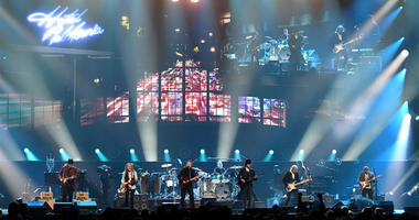LAS VEGAS, NEVADA - SEPTEMBER 27: (L-R) Vince Gill, Timothy B. Schmit, Don Henley, Scott F. Crago, Deacon Frey, Joe Walsh and Steuart Smith of the Eagles perform at MGM Grand Garden Arena on September 27, 2019 in Las Vegas, Nevada. (Photo by Ethan Miller/