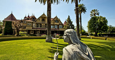 On the cultivated front of the Winchester Mystery House in San Jose, California, stands a statute of Chief Little Fawn. (Photo by Manny Crisostomo/Sacramento Bee/MCT/Sipa USA)