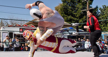 Lucha Libre masked-wrestlers at the Taco Festival of Innovation