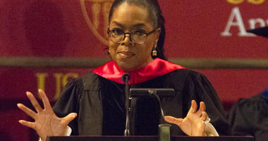 Oprah Winfrey speaks to graduates at USC's Annenberg School for Communication and Journalism at the Shrine Auditorium on Friday, May 11, 2018, in Los Angeles. (Photo by Willy Sanjuan/Invision/AP)