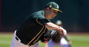 Oakland Athletics starting pitcher Trevor Cahill (53) delivers against the Detroit Tigers during the first inning of a baseball game, Sunday, Aug. 5, 2018, in Oakland, Calif. (AP Photo/D. Ross Cameron)