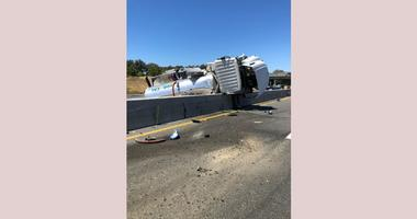 A sanitation truck overturned on Highway 101, spilling sewage onto the roadway on Aug. 14, 2019.