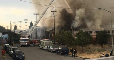 A large fire broke out at an Oakland warehouse on Aug. 9, 2019.