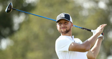Stephen Curry of the Golden State Warriors tees off on the seventh hole during Round Two of the Ellie Mae Classic at TBC Stonebrae on August 10, 2018 in Hayward, California.