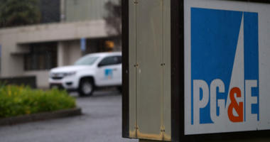 he Pacific Gas & Electric (PG&E) logo is displayed on a sign in front of the PG&E Service Center on January 15, 2019 in San Rafael, California.