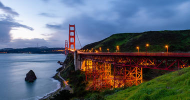 A view of the Golden Gate Bridge from the Marin headlands.