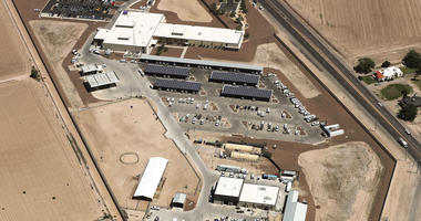 : An aerial view of the U.S. Border Patrol facility where attorneys reported that detained migrant children had been held in disturbing conditions on June 28, 2019 in Clint, Texas.