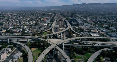 Traffic moves through an interchange along Interstate 580 on July 25, 2019 in Oakland, California.