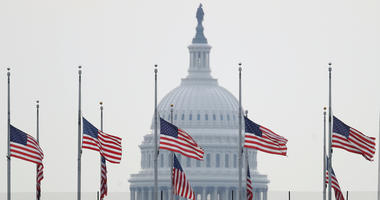 The American flag flies at half staff over the U.S. Capitol in memory of those killed in the recent mass shootings in El Paso, Texas and Dayton, Ohio August 5, 2019 in Washington, DC.