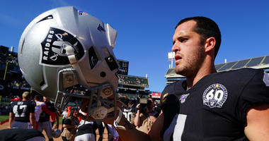 Derek Carr #4 of the Oakland Raiders walks off the field after losing to the Kansas City Chiefs at RingCentral Coliseum on September 15, 2019 in Oakland, California.