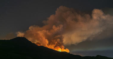 The Maria Fire burns on a hillside as it expands up to 8,000 acres on its first night on November 1, 2019 near Somis, California.