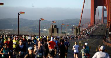 Runners cross the Golden Gate Bridge during the 2013 San Francisco Marathon and Half-Marathon on June 16, 2013 in San Francisco, California.
