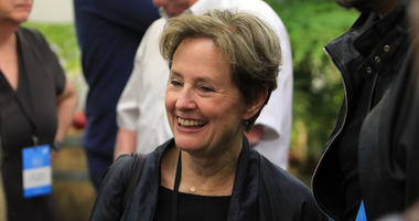 : Alice Waters smiles in the Virgin Australia Domestic Lounge at Hobart International Airport on November 13, 2014 in Hobart, Australia.