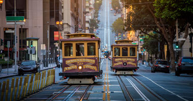 Cable cars on California Street in San Francisco.