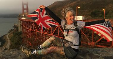 Jane Sullivan completed a walking tour across 12 states at the Golden Gate Bridge on Aug. 30, 2019.