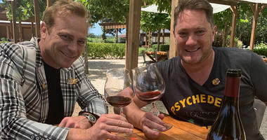 Winemaker Jean-Charles Boisset and and Liam at  DeLoach Vineyards (Photo credit: Foodie Chap/Liam Mayclem)