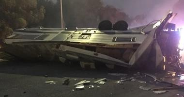 A motor home overturned in a collision on I-580 in Oakland on Aug. 5, 2019.