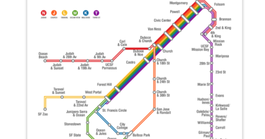 Equality California has started a petition to get Muni to change the color scheme of its rail network to match the colors of the LGBTQ Pride flag.