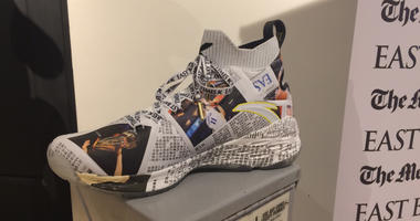 ​Klay Thompson's newest branded sneakers allude to his pre-game ritual of reading the newspaper before Golden State Warriors games. Fans had to purchase a newspaper subscription to qualify to get the shoes on July 7, 2019.