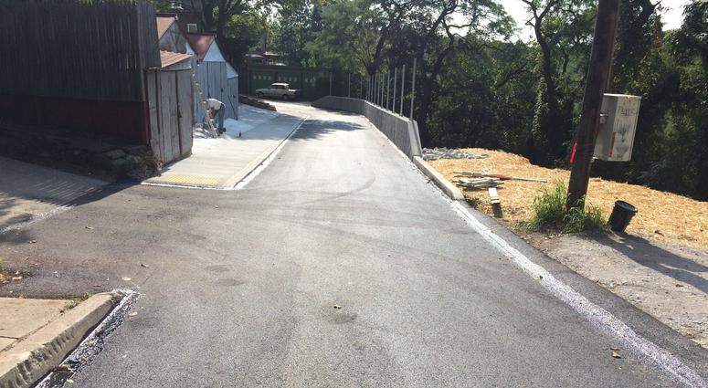 completed landslide repairs on Diana Street in Spring Hill