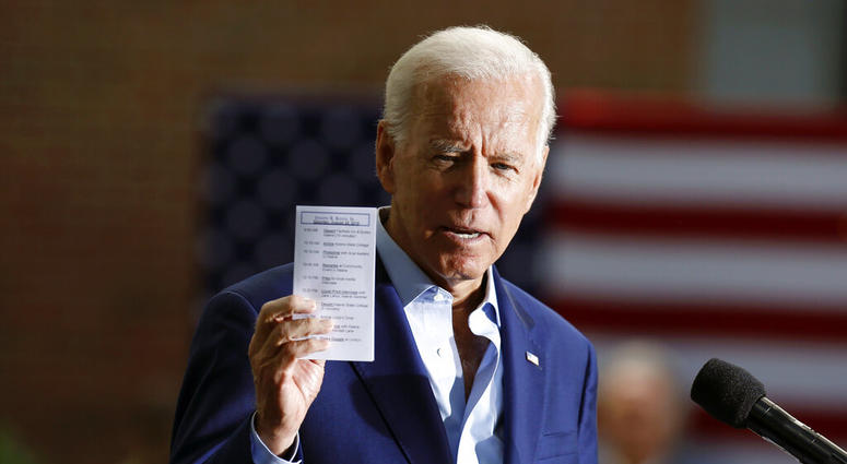 Democratic presidential candidate former Vice President Joe Biden speaks during a campaign event at Keene State College in Keene, N.H., Saturday, Aug. 24, 2019.
