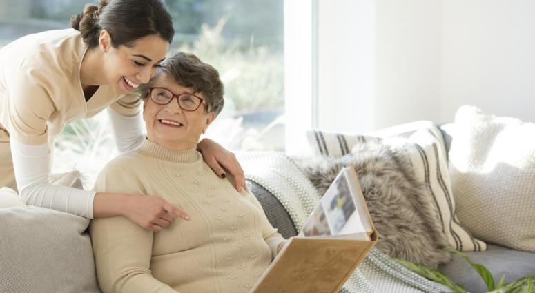 Grandmother with tender caregiver