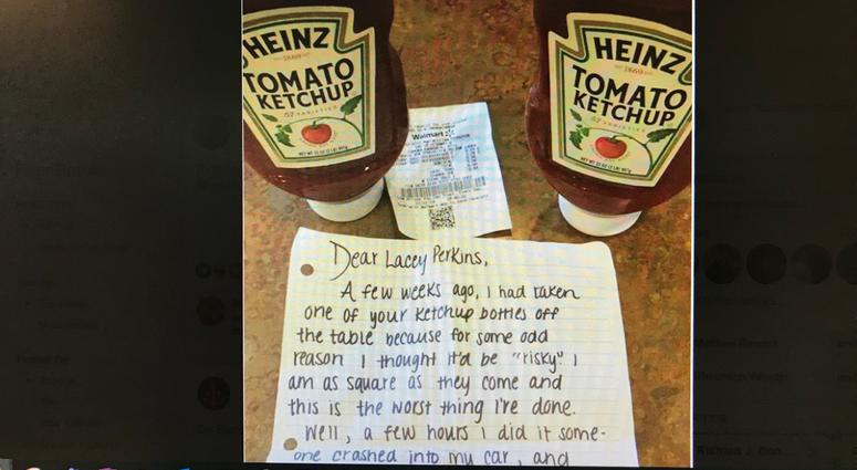 A ketchup thief offers an apology and two new bottles of Heinz. ketchup theft