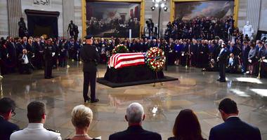 The flag-draped casket of Sen. John McCain