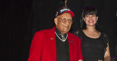 Lt. Col. Bob Friend, a Tuskegee Airman, stand onstage during the 2nd Annual Heroes Helping Heroes Benefit Concert at The House of Blues in Los Angeles