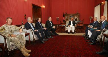 Secretary of State Mike Pompeo meets with, from left, Resolute Support NATO Base Commander Gen. Austin Scott Miller, Afghanistan Envoy Zalmay Khalilzad, U.S. Ambassador to Afghanistan John Bass, Pompeo, Afghan President Ashraf Ghani, Afghan Chief Executiv
