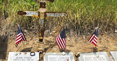 memorial stones at the Wildland Firefighters Monument at the National Interagency Fire Center in Boise, Idaho, for wildland firefighters killed by a wildfire on June 30, 2013, near Yarnell, Ariz.