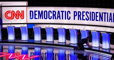 Workers get the stage ready for the Democratic primary debate hosted by CNN Tuesday, July 30, 2019, at the Fox Theatre in Detroit.