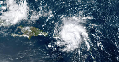 National Oceanic and Atmospheric Administration (NOAA), shows Dorian, a Category 1 hurricane, crossing over the U.S. and British Virgin Islands