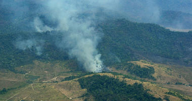 Smoke rises from a rainforest in Altamira, Para state, Brazil
