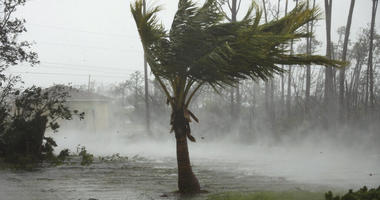 A road is flooded during the passing of Hurricane Dorian in Freeport, Grand Bahama, Bahamas,