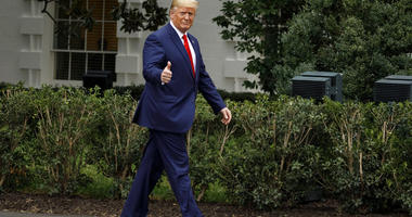 President Donald Trump gives the thumbs-up as he arrives for a ceremony on the South Lawn of the White House in Washington, Thursday, Sept. 26, 2019. The president was given a plaque of appreciation from America's Sheriffs and Angel Families.