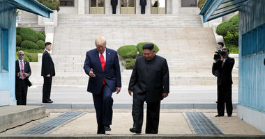 handout photo provided by Dong-A Ilbo of North Korean leader Kim Jong Un and U.S. President Donald Trump inside the demilitarized zone (DMZ) separating the South and North Korea on June 30, 2019