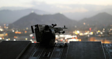 The city of Kabul can be seen at sundown from the rear deck of a U.S. Army