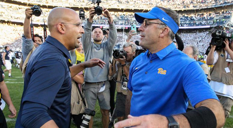 Pitt coach Pat Narduzzi and PSU coach James Franklin
